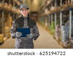 smiling caucasian worker with... | Shutterstock . vector #625194722