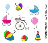 a set of children's toys and... | Shutterstock .eps vector #625202762