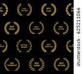 gold film award wreaths.... | Shutterstock .eps vector #625211066