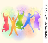 colorful silhouettes of happy... | Shutterstock . vector #625217912