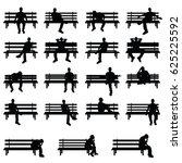 man silhouette sitting on bench ... | Shutterstock .eps vector #625225592