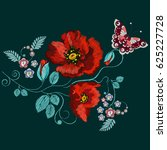 embroidery poppies and...   Shutterstock .eps vector #625227728