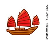 chinese junk boat icon with red ... | Shutterstock .eps vector #625246322