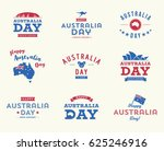 happy australia day logo set  ... | Shutterstock .eps vector #625246916
