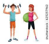 couple training sport practice | Shutterstock .eps vector #625257962