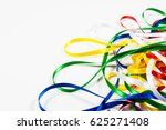 many color ribbons on white... | Shutterstock . vector #625271408