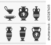 greek vase set vector... | Shutterstock .eps vector #625287635