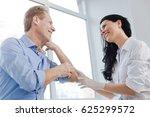 joyful dermatologist enjoying... | Shutterstock . vector #625299572
