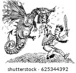 dragoon throws fire to a... | Shutterstock .eps vector #625344392