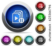 pause playlist icons in round... | Shutterstock .eps vector #625366796
