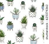 watercolor home plants.... | Shutterstock . vector #625374362