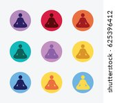 set of meditation icons in... | Shutterstock .eps vector #625396412