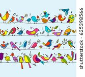 birds family  seamless pattern... | Shutterstock .eps vector #625398566
