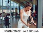 beautiful girl doing exercises... | Shutterstock . vector #625404866
