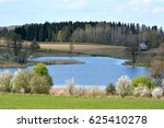spring landscape with lake | Shutterstock . vector #625410278