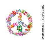 stylish peace flower symbol | Shutterstock .eps vector #625412582