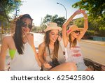 group of young and cute girls... | Shutterstock . vector #625425806