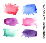 set of colorful watercolor... | Shutterstock . vector #625427996