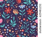 seamless vector floral pattern  ... | Shutterstock .eps vector #625481252