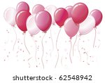 pink balloons floating together ... | Shutterstock .eps vector #62548942