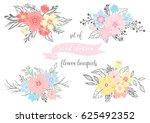 set of hand drawn flower... | Shutterstock .eps vector #625492352