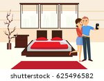 Stock vector a loving couple is photographed in hotel room man and woman in the background of bedroom large 625496582