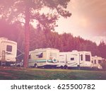 rv campsite at sunrise in... | Shutterstock . vector #625500782