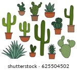 cactus vector set  hand drawn... | Shutterstock .eps vector #625504502
