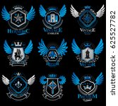 collection of heraldic... | Shutterstock . vector #625527782