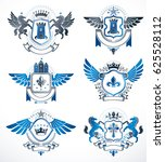 set of  vintage emblems created ... | Shutterstock . vector #625528112