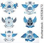 set of  vintage emblems created ... | Shutterstock . vector #625528172