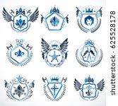 set of  vintage emblems created ... | Shutterstock . vector #625528178