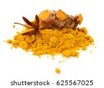 turmeric powder and turmeric... | Shutterstock . vector #625567025