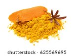 pile of ground turmeric on a... | Shutterstock . vector #625569695