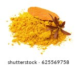turmeric powder spice pile... | Shutterstock . vector #625569758