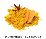 heap of curry powder isolated... | Shutterstock . vector #625569785