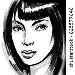 pretty brunette | Shutterstock . vector #625579646