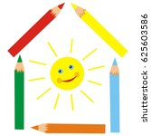 crayons and sun  vector icon | Shutterstock .eps vector #625603586