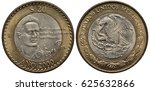 Small photo of Mexico Mexican bimetallic coin 20 twenty pesos 2000, subject Writer Octavio Paz, bust in 3/4 right, date below, eagle on cactus catching snake flanked by oak and laurel springs