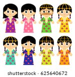 set of girls are wearing an old ... | Shutterstock .eps vector #625640672