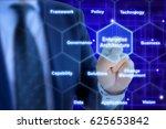 enterprise architect pressing a ... | Shutterstock . vector #625653842