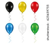 set balloon isolated on a white ... | Shutterstock . vector #625659755