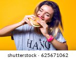 happy hungry moments of pretty... | Shutterstock . vector #625671062
