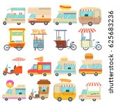 street food vehicles icons set. ... | Shutterstock .eps vector #625683236