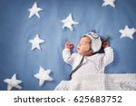 cute newborn baby girl lying in ...   Shutterstock . vector #625683752