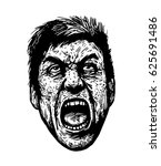 screaming man. black and white... | Shutterstock .eps vector #625691486