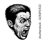 screaming man. black and white... | Shutterstock .eps vector #625691522