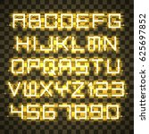 glowing yellow neon alphabet... | Shutterstock .eps vector #625697852