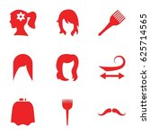 hairstyle icons set. set of 9... | Shutterstock .eps vector #625714565