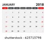 calendar for january 2018  week ... | Shutterstock .eps vector #625715798